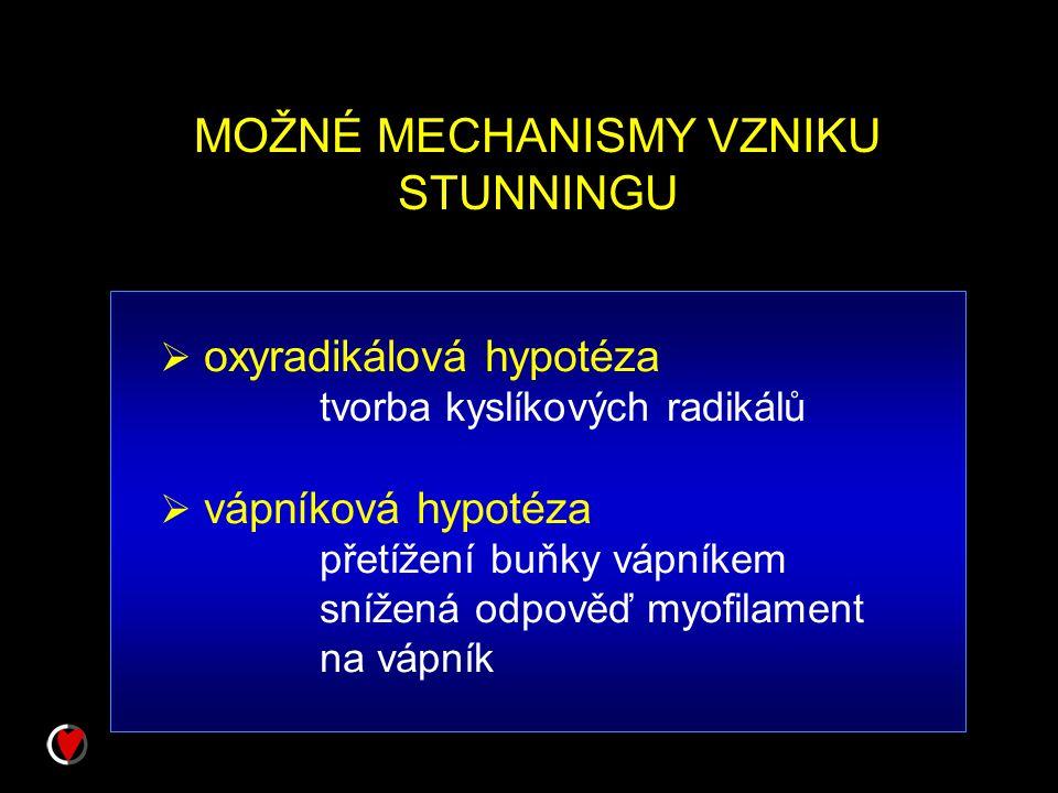 MOŽNÉ MECHANISMY VZNIKU STUNNINGU  oxyradikálová hypotéza tvorba kyslíkových radikálů  vápníková hypotéza přetížení buňky vápníkem snížená odpověď m