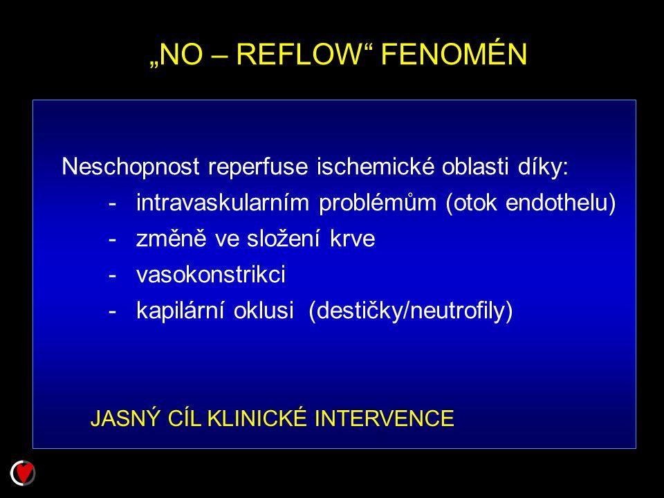 """""""NO – REFLOW"""" FENOMÉN Neschopnost reperfuse ischemické oblasti díky: - intravaskularním problémům (otok endothelu) - změně ve složení krve - vasokonst"""
