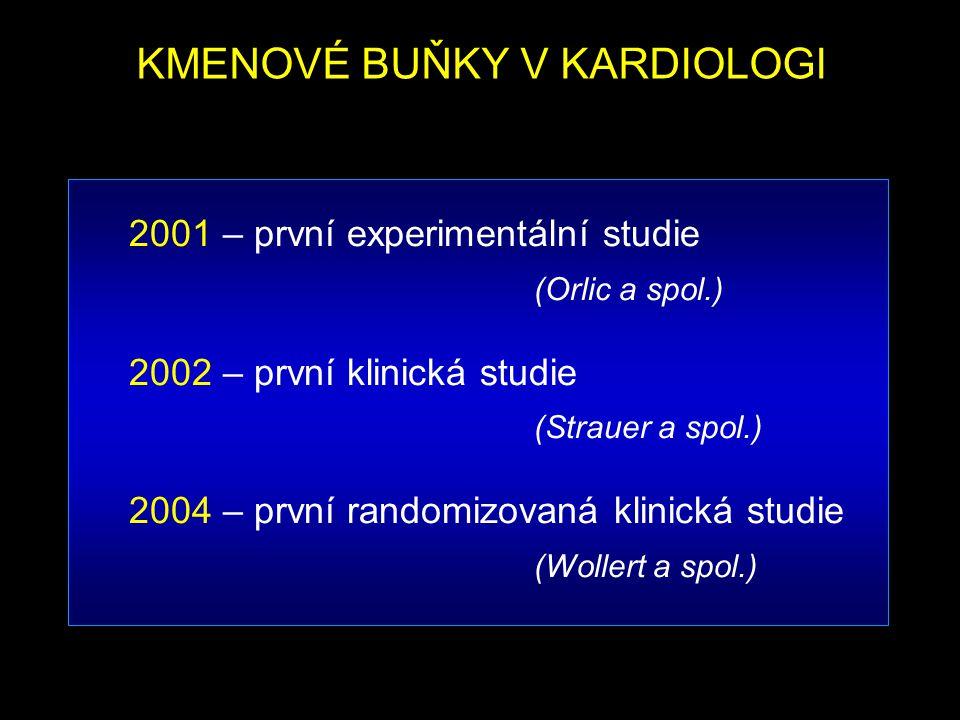 KMENOVÉ BUŇKY V KARDIOLOGI 2001 – první experimentální studie (Orlic a spol.) 2002 – první klinická studie (Strauer a spol.) 2004 – první randomizovan