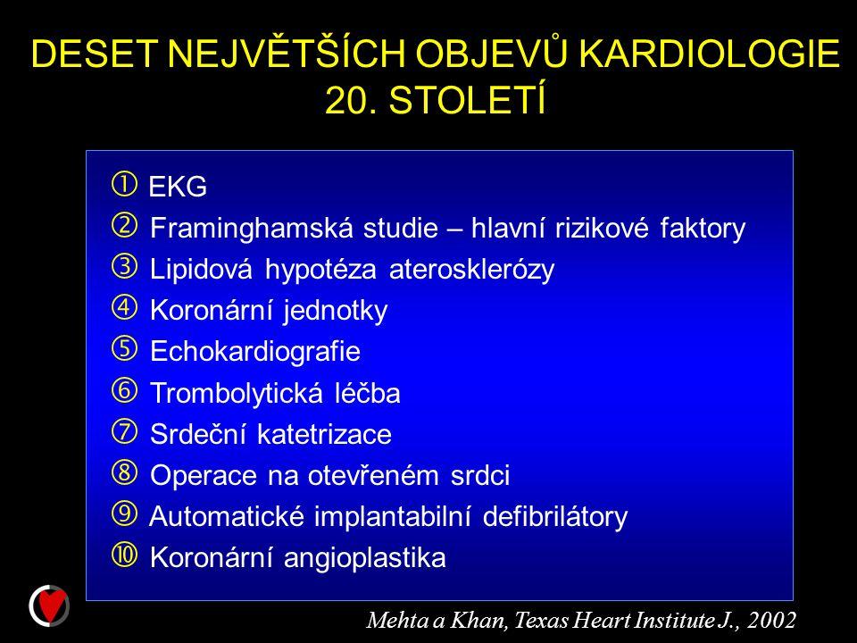 DESET NEJVĚTŠÍCH OBJEVŮ KARDIOLOGIE 20. STOLETÍ  EKG  Framinghamská studie – hlavní rizikové faktory  Lipidová hypotéza aterosklerózy  Koronární j