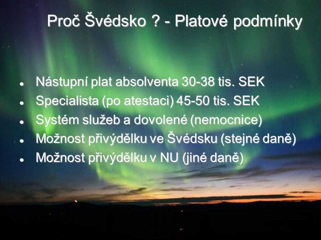 Proč Švédsko ? - Platové podmínky Nástupní plat absolventa 30-38 tis. SEK Nástupní plat absolventa 30-38 tis. SEK Specialista (po atestaci) 45-50 tis.