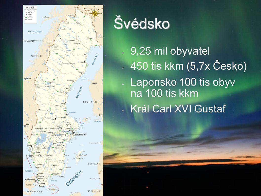 Švédsko 9,25 mil obyvatel 450 tis kkm (5,7x Česko) Laponsko 100 tis obyv na 100 tis kkm Král Carl XVI Gustaf 2014-08-21Co dál doktoři