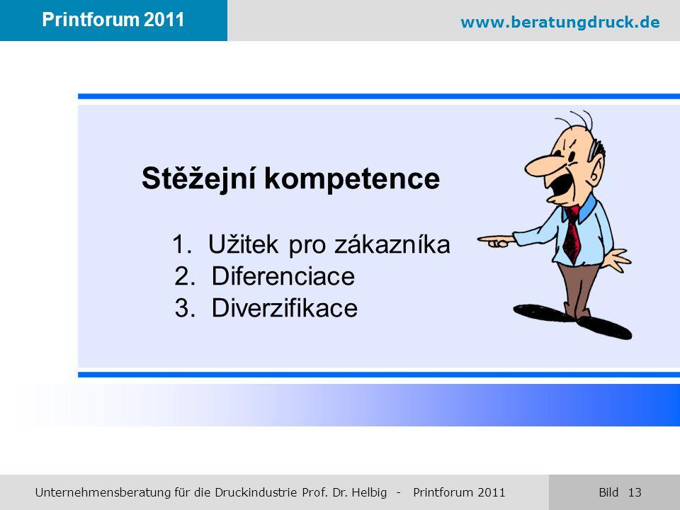 Stěžejní kompetence 1. Užitek pro zákazníka 2. Diferenciace 3. Diverzifikace www.beratungdruck.de Printforum 2011 Unternehmensberatung für die Druckin