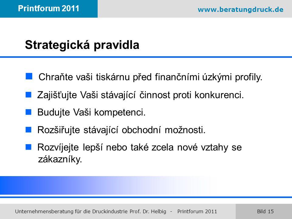 www.beratungdruck.de Unternehmensberatung für die Druckindustrie Prof. Dr. Helbig - Printforum 2011 Bild 15 Printforum 2011 Strategická pravidla Chraň