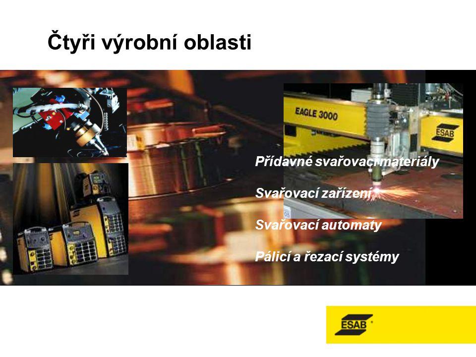 Čtyři výrobní oblasti Přídavné svařovací materiály Svařovací zařízení Svařovací automaty Pálicí a řezací systémy