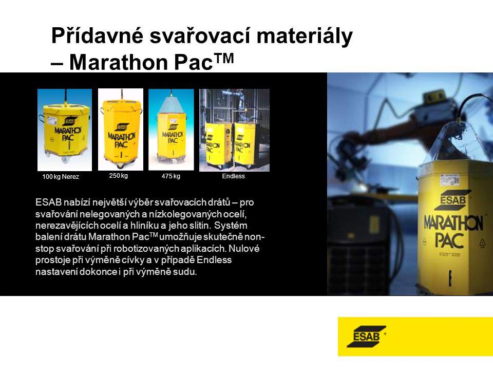 Přídavné svařovací materiály – Marathon Pac TM 100 kg Nerez 250 kg 475 kg Endless ESAB nabízí největší výběr svařovacích drátů – pro svařování nelegovaných a nízkolegovaných ocelí, nerezavějících ocelí a hliníku a jeho slitin.