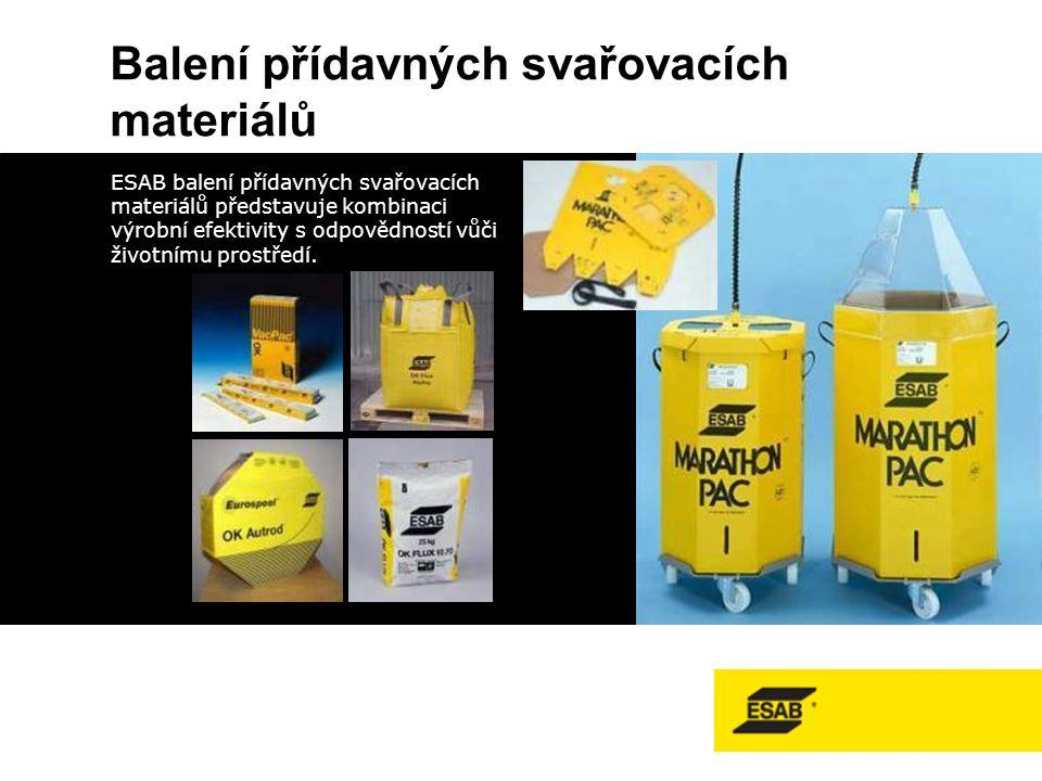 Balení přídavných svařovacích materiálů ESAB balení přídavných svařovacích materiálů představuje kombinaci výrobní efektivity s odpovědností vůči životnímu prostředí.