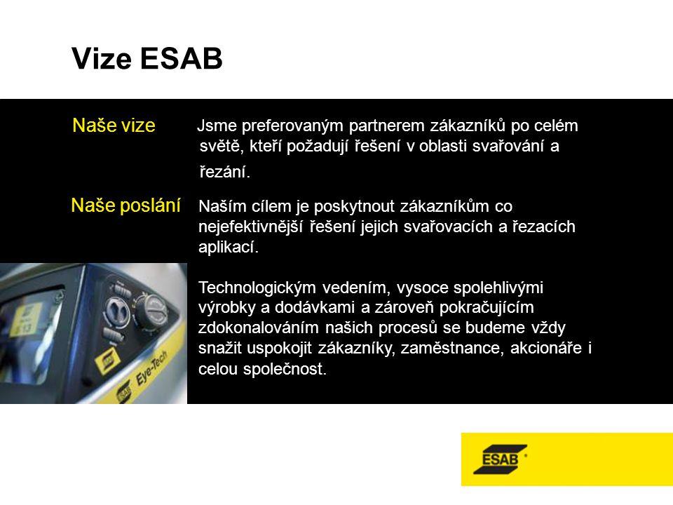 Vize ESAB Jsme preferovaným partnerem zákazníků po celém světě, kteří požadují řešení v oblasti svařování a řezání.