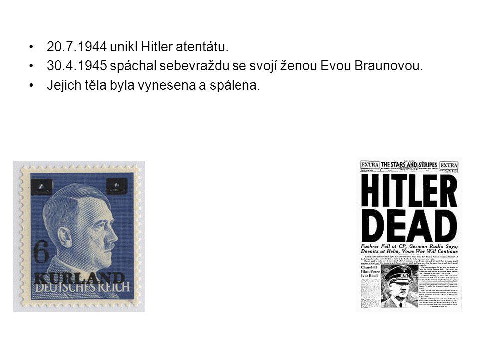 20.7.1944 unikl Hitler atentátu. 30.4.1945 spáchal sebevraždu se svojí ženou Evou Braunovou.