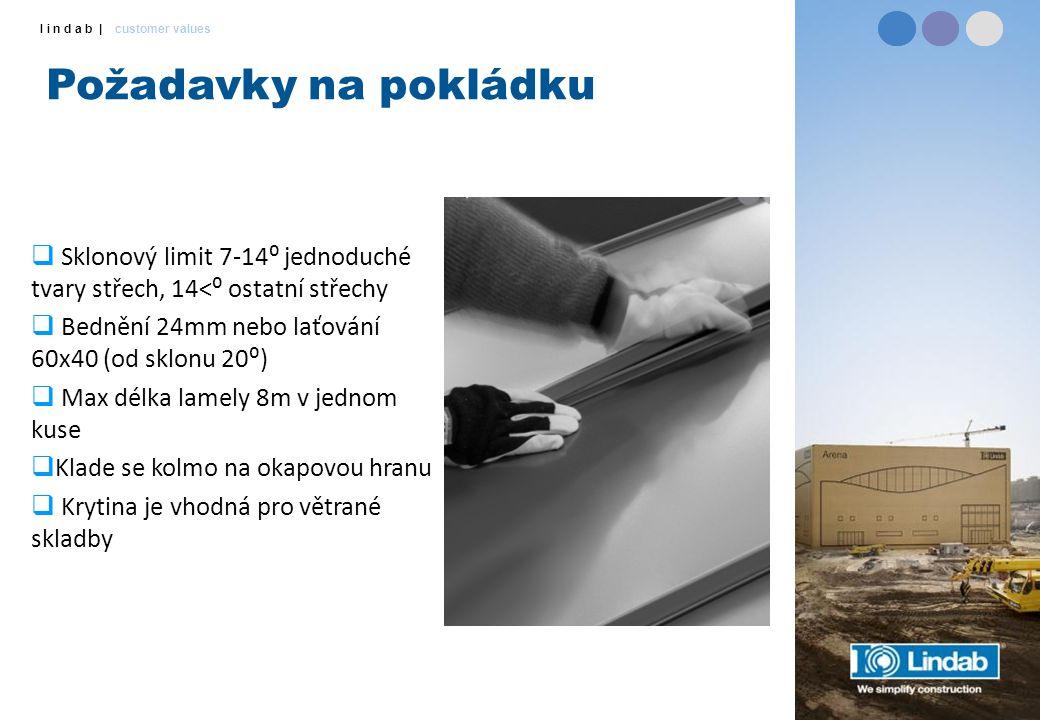 l i n d a b | customer values Požadavky na pokládku  Sklonový limit 7-14⁰ jednoduché tvary střech, 14<⁰ ostatní střechy  Bednění 24mm nebo laťování