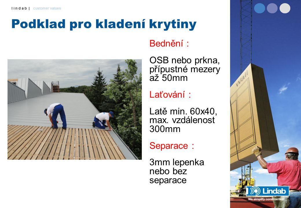 l i n d a b | customer values Podklad pro kladení krytiny Bednění : OSB nebo prkna, přípustné mezery až 50mm Laťování : Latě min. 60x40, max. vzdáleno