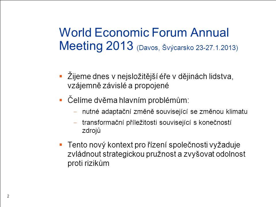 World Economic Forum Annual Meeting 2013 (Davos, Švýcarsko 23-27.1.2013)  Žijeme dnes v nejsložitější éře v dějinách lidstva, vzájemně závislé a propojené  Čelíme dvěma hlavním problémům: ‒ nutné adaptační změně související se změnou klimatu ‒ transformační příležitosti související s konečností zdrojů  Tento nový kontext pro řízení společnosti vyžaduje zvládnout strategickou pružnost a zvyšovat odolnost proti rizikům 2
