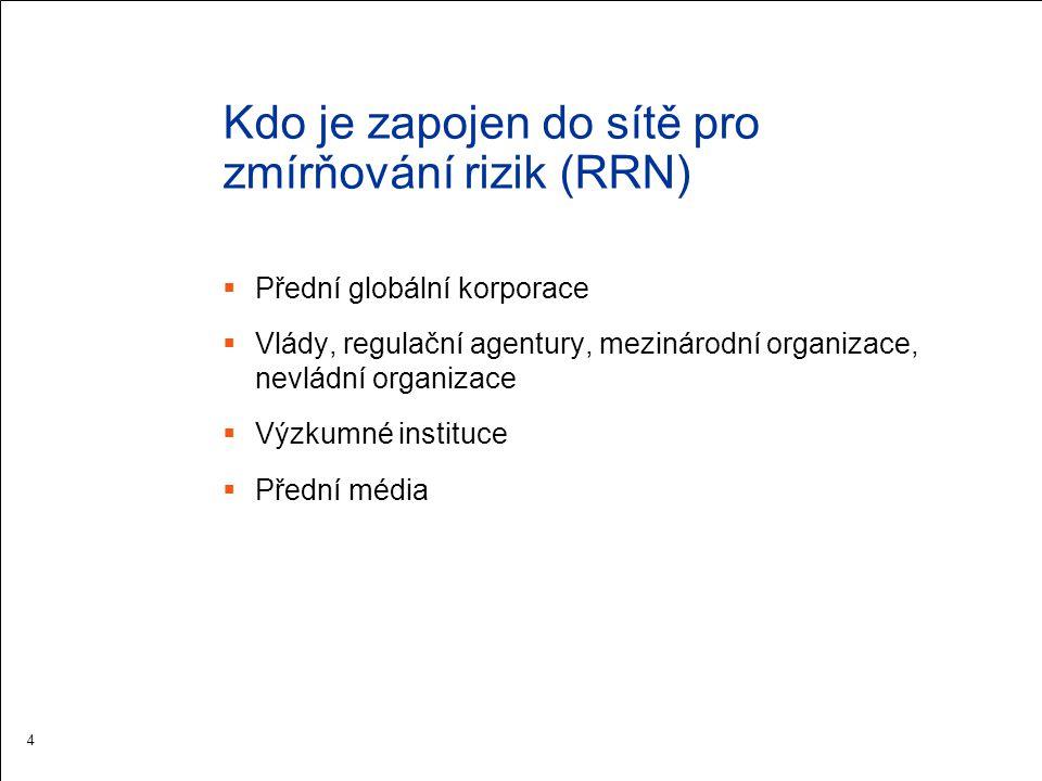 Kdo je zapojen do sítě pro zmírňování rizik (RRN)  Přední globální korporace  Vlády, regulační agentury, mezinárodní organizace, nevládní organizace  Výzkumné instituce  Přední média 4