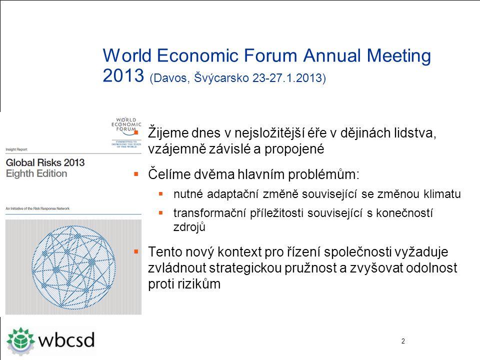 World Economic Forum Annual Meeting 2013 (Davos, Švýcarsko 23-27.1.2013)  Žijeme dnes v nejsložitější éře v dějinách lidstva, vzájemně závislé a propojené  Čelíme dvěma hlavním problémům:  nutné adaptační změně související se změnou klimatu  transformační příležitosti související s konečností zdrojů  Tento nový kontext pro řízení společnosti vyžaduje zvládnout strategickou pružnost a zvyšovat odolnost proti rizikům 2
