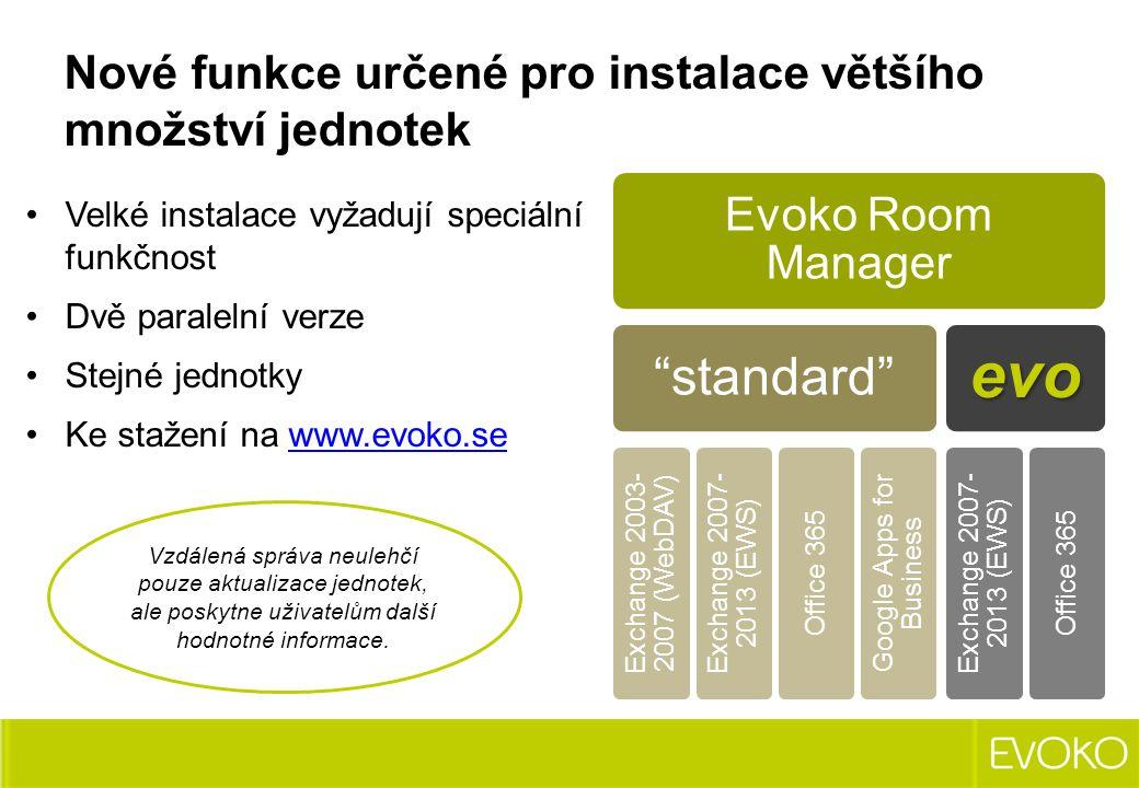 """Velké instalace vyžadují speciální funkčnost Dvě paralelní verze Stejné jednotky Ke stažení na www.evoko.sewww.evoko.se Evoko Room Manager """"standard"""""""