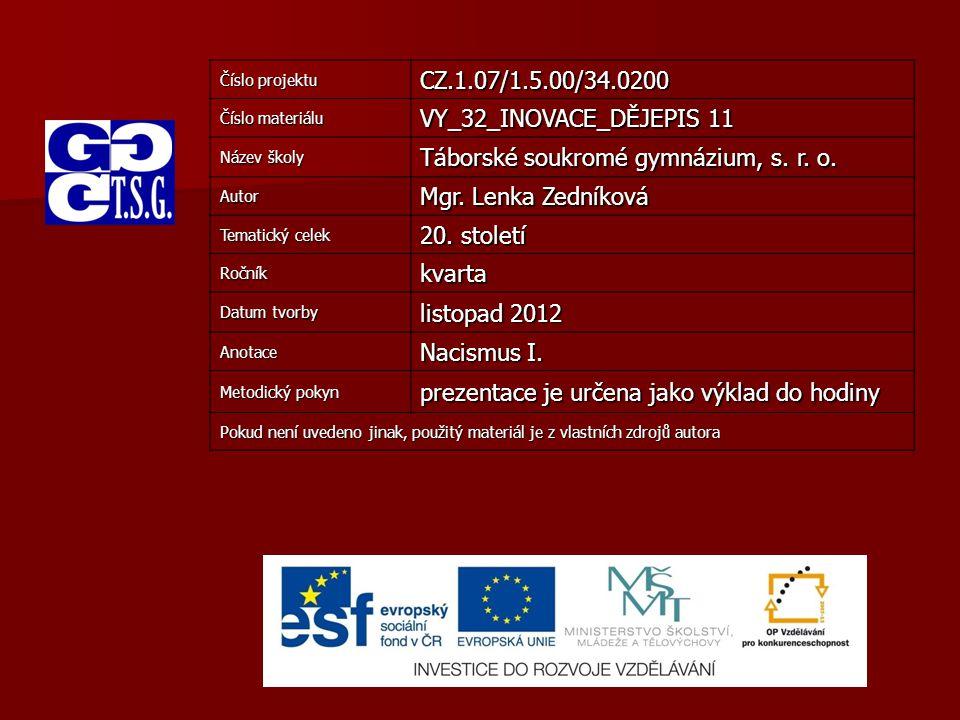 Číslo projektu CZ.1.07/1.5.00/34.0200 Číslo materiálu VY_32_INOVACE_DĚJEPIS 11 Název školy Táborské soukromé gymnázium, s. r. o. Autor Mgr. Lenka Zedn