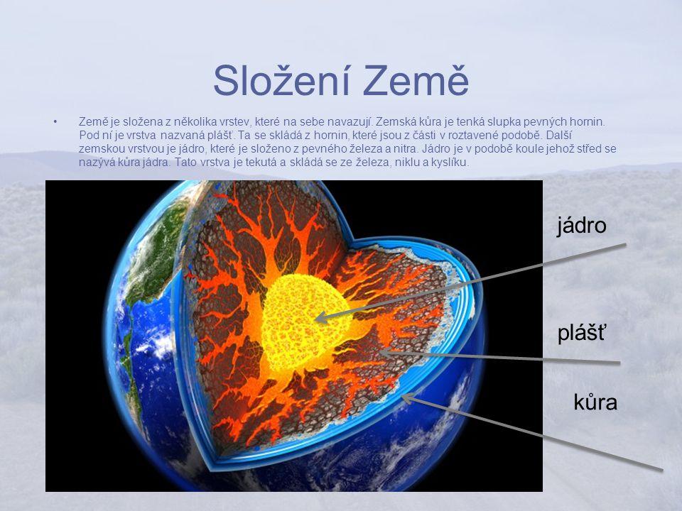 Složení Země Země je složena z několika vrstev, které na sebe navazují.