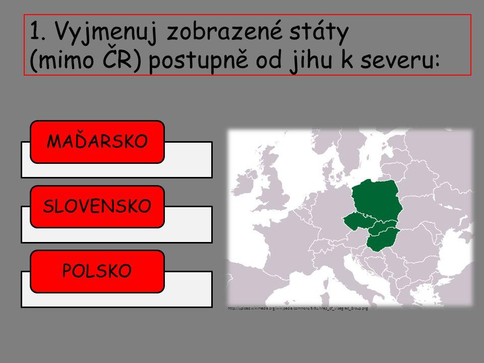 1. Vyjmenuj zobrazené státy (mimo ČR) postupně od jihu k severu: MAĎARSKOSLOVENSKOPOLSKO http://upload.wikimedia.org/wikipedia/commons/9/91/Map_of_Vis