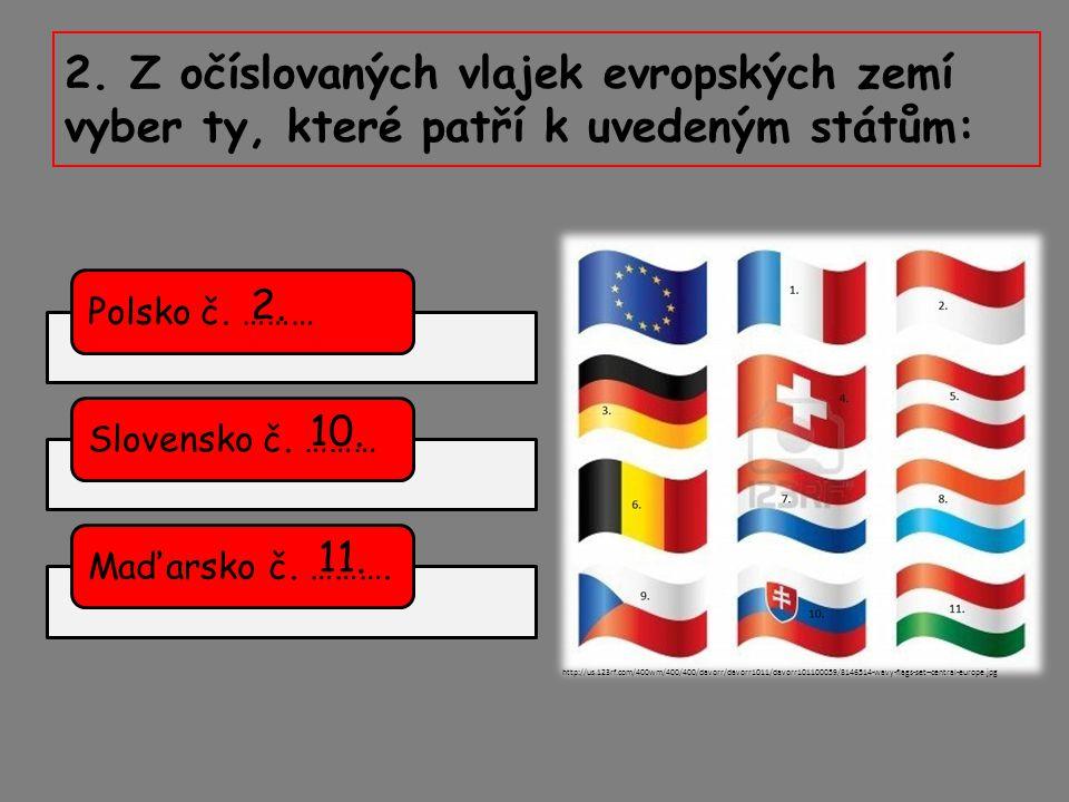 2. Z očíslovaných vlajek evropských zemí vyber ty, které patří k uvedeným státům: Polsko č. ………Slovensko č. ………Maďarsko č. ………. http://us.123rf.com/40
