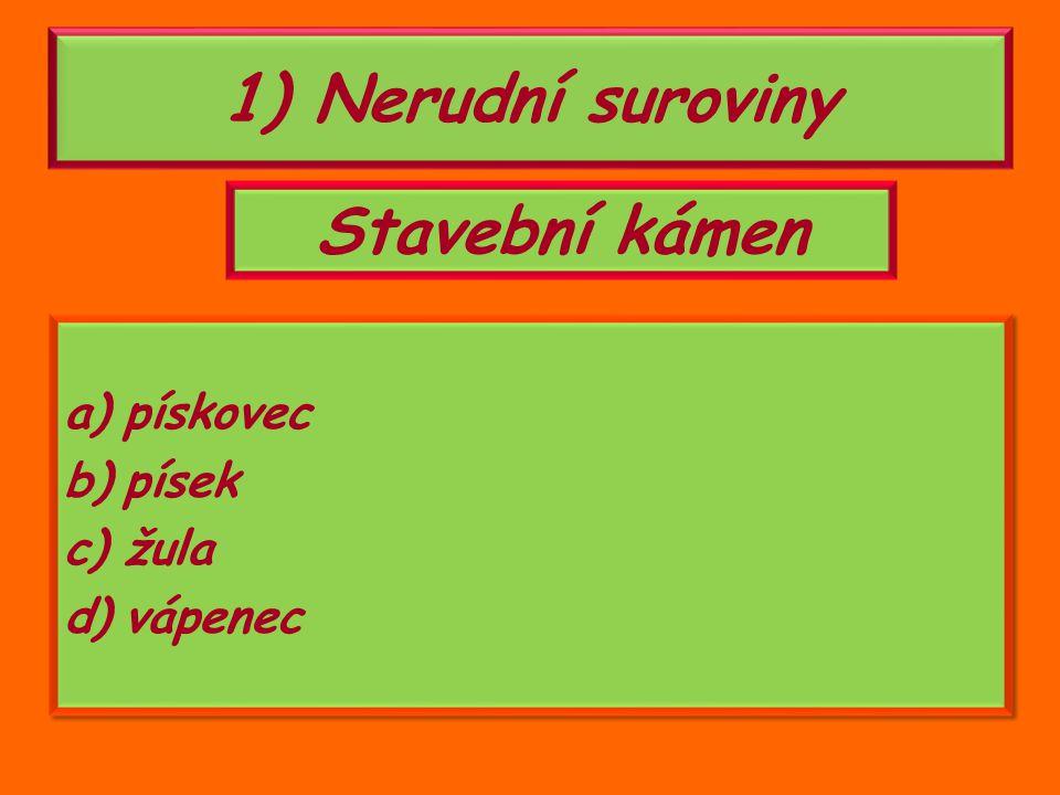1)nerudní suroviny (stavební kámen) 2)rudy (železné rudy, drahé kovy) 3)energetické suroviny (uhlí) Nerostné suroviny