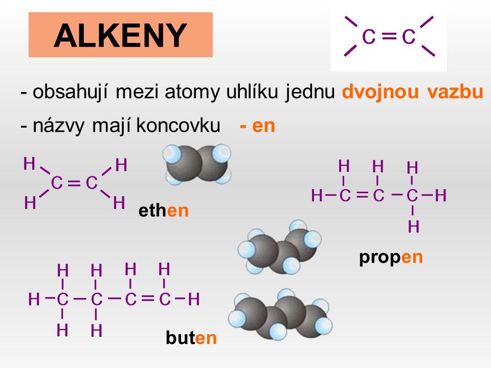 ALKENY - obsahují mezi atomy uhlíku jednu dvojnou vazbu - názvy mají koncovku - en ethen propen buten