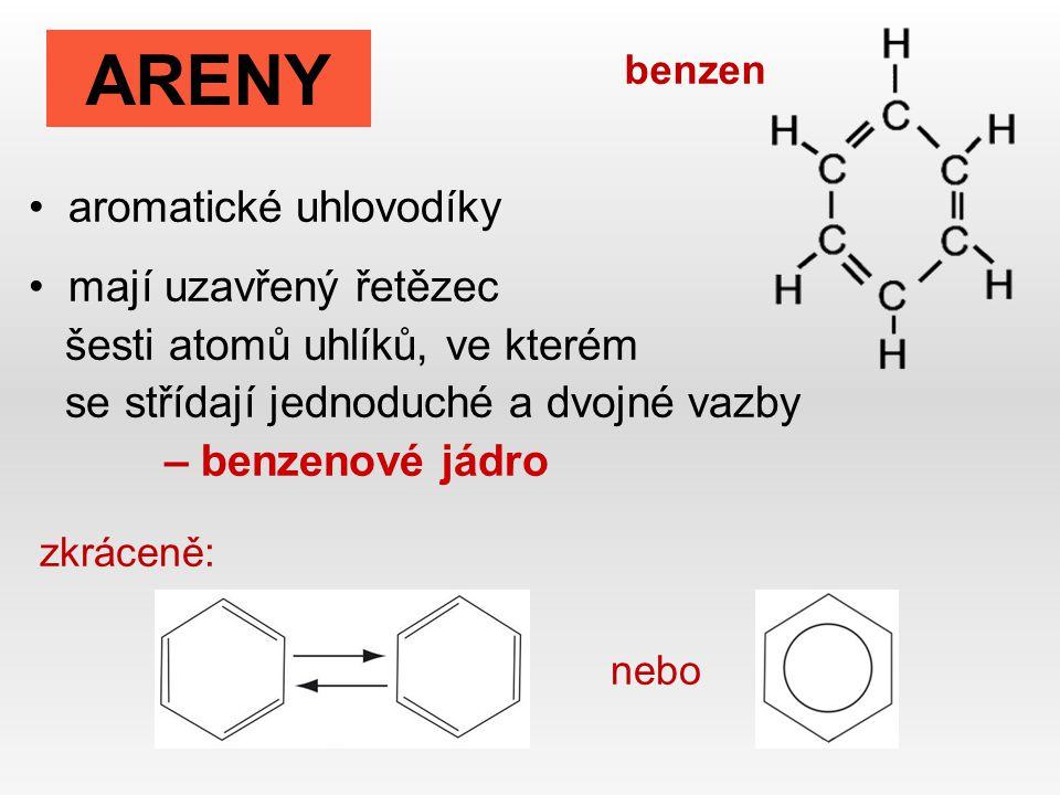 aromatické uhlovodíky mají uzavřený řetězec šesti atomů uhlíků, ve kterém se střídají jednoduché a dvojné vazby – benzenové jádro zkráceně: nebo ARENY benzen