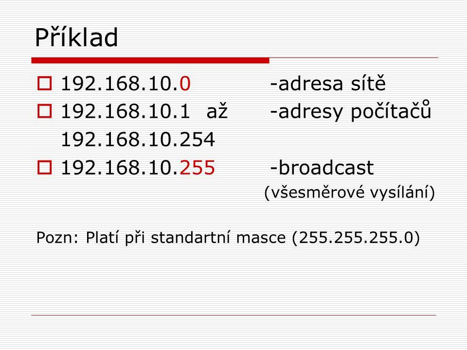 Příklad  192.168.10.0-adresa sítě  192.168.10.1 až-adresy počítačů 192.168.10.254  192.168.10.255-broadcast (všesměrové vysílání) Pozn: Platí při s