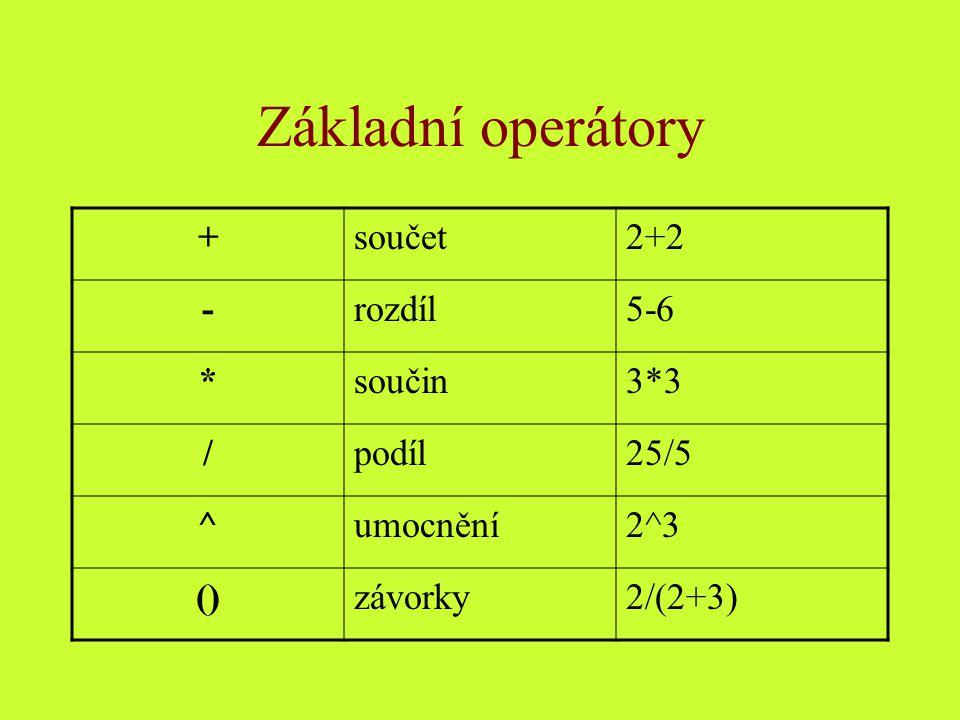 Základní operátory +součet2+2 -rozdíl5-6 *součin3*3 /podíl25/5 ^umocnění2^3 ()závorky2/(2+3)