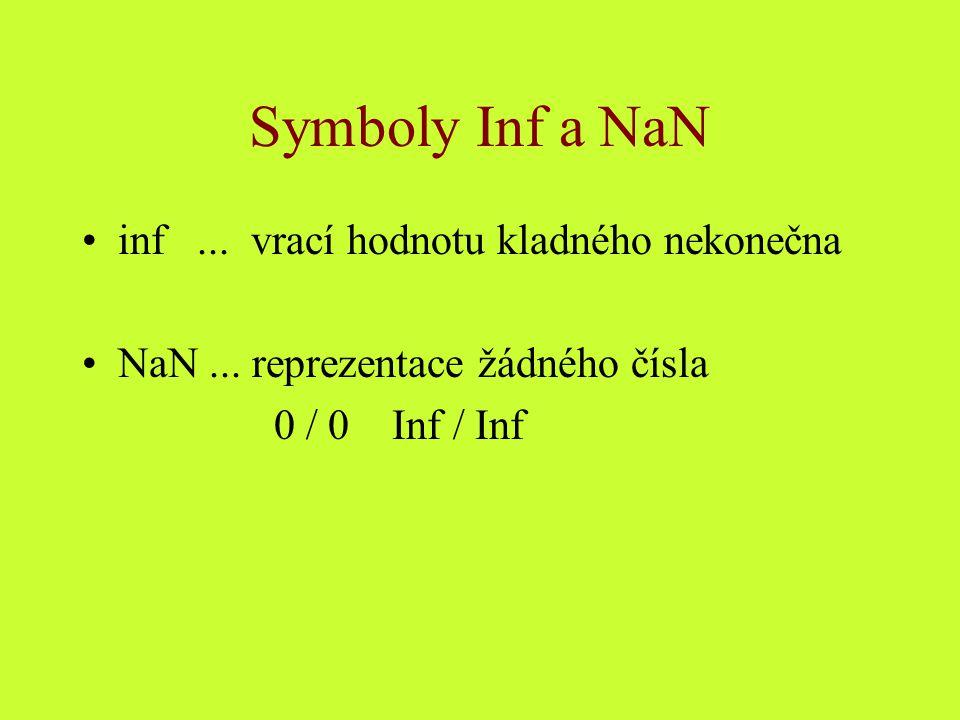 Symboly Inf a NaN inf... vrací hodnotu kladného nekonečna NaN... reprezentace žádného čísla 0 / 0 Inf / Inf