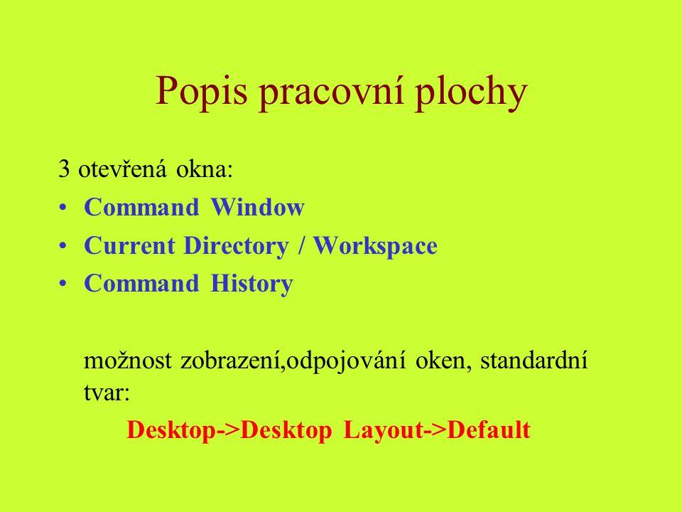 Popis pracovní plochy 3 otevřená okna: Command Window Current Directory / Workspace Command History možnost zobrazení,odpojování oken, standardní tvar: Desktop->Desktop Layout->Default