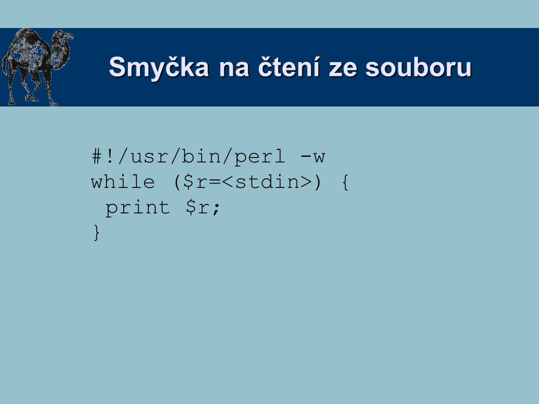 Smyčka na čtení ze souboru #!/usr/bin/perl -w while ($r= ) { print $r; }