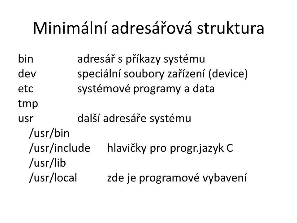 Minimální adresářová struktura binadresář s příkazy systému devspeciální soubory zařízení (device) etcsystémové programy a data tmp usrdalší adresáře