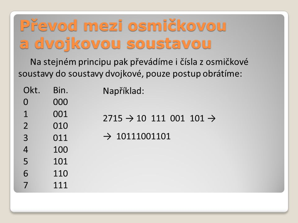 Na stejném principu pak převádíme i čísla z osmičkové soustavy do soustavy dvojkové, pouze postup obrátíme: Okt.Bin.
