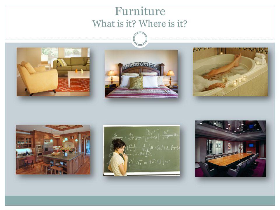 Furniture Solution living room armchair, sofa… bedroom pillows, lamps… bathroom towels, bath… kitchen microwave, fridge… classroom blackboard… meeting room table, leather armchairs…