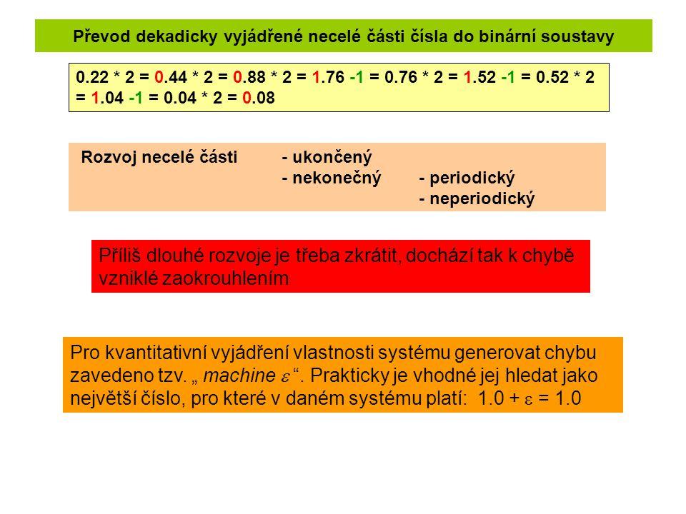 Převod dekadicky vyjádřené necelé části čísla do binární soustavy 0.22 * 2 = 0.44 * 2 = 0.88 * 2 = 1.76 -1 = 0.76 * 2 = 1.52 -1 = 0.52 * 2 = 1.04 -1 =