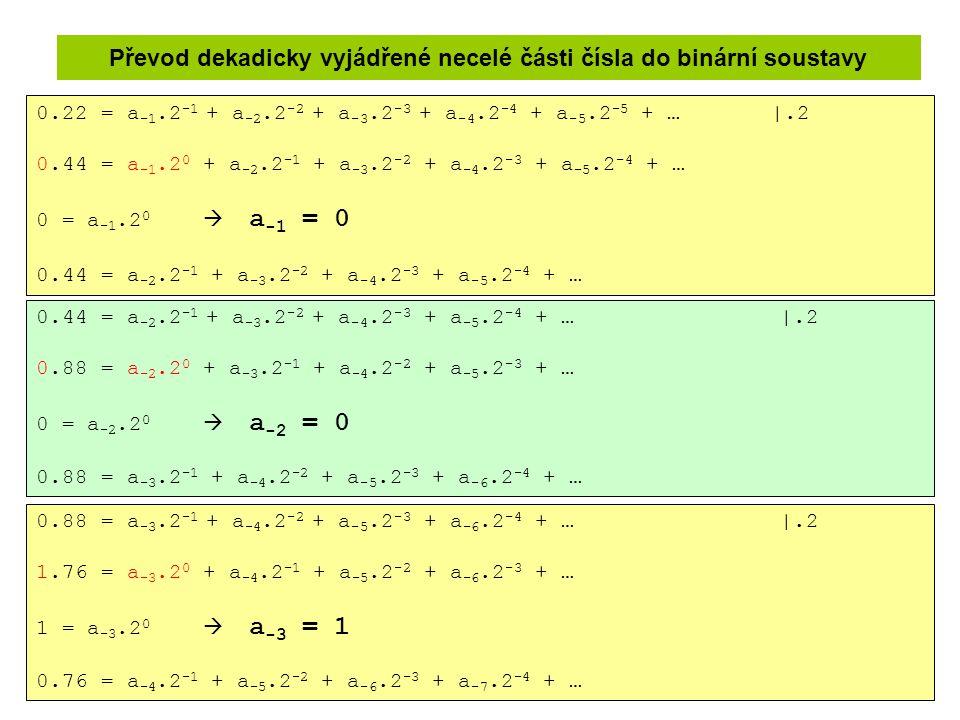 Převod dekadicky vyjádřené necelé části čísla do binární soustavy 0.22 = a -1.2 -1 + a -2.2 -2 + a -3.2 -3 + a -4.2 -4 + a -5.2 -5 + … |.2 0.44 = a -1