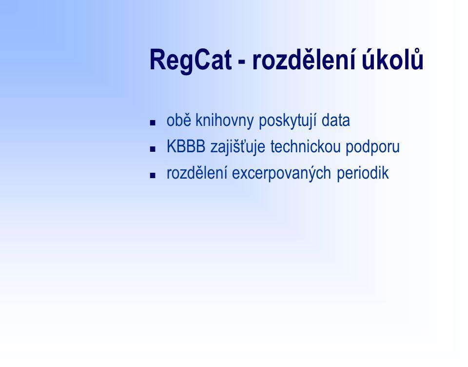 RegCat - slabé stránky n momentálně není přísun nových záznamů ze strany muzejní knihovny z důvodu přechodu ISIS na Clavius n duplicitní záznamy n v současné době nepřívětivé prostředí pro vyhledávání