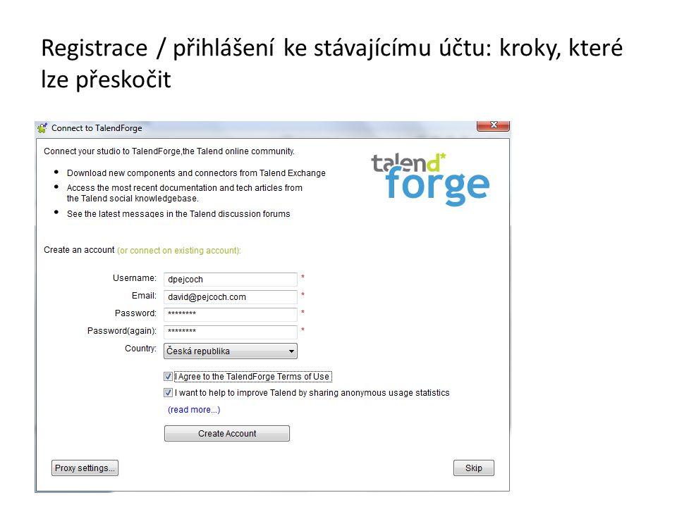 Registrace / přihlášení ke stávajícímu účtu: kroky, které lze přeskočit