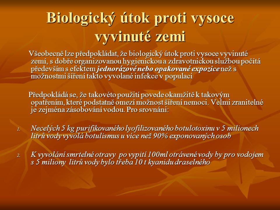 Biologický útok proti vysoce vyvinuté zemi Všeobecně lze předpokládat, že biologický útok proti vysoce vyvinuté zemí, s dobře organizovanou hygienicko