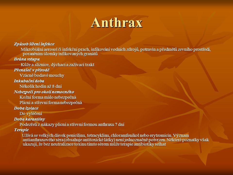 Anthrax Způsob šíření infekce Mikrobiální aerosol či infekční prach, infikování vodních zdrojů, potravin a předmětů zevního prostředí, poraněním úlomk