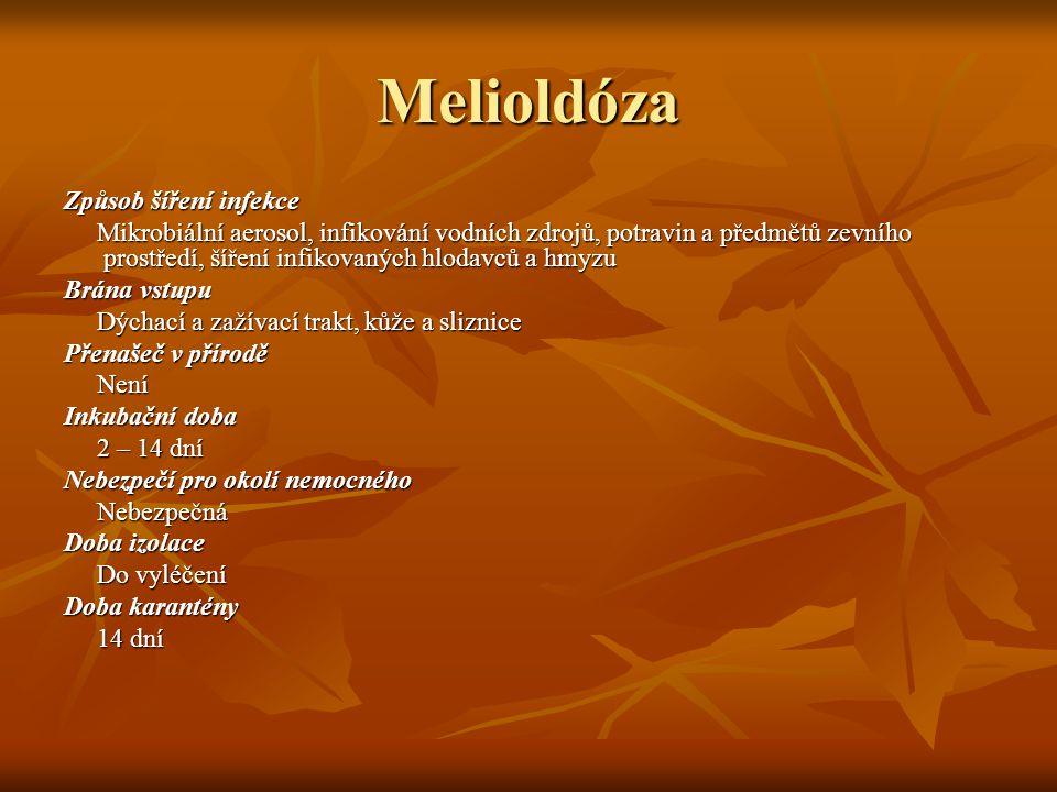 Melioldóza Způsob šíření infekce Mikrobiální aerosol, infikování vodních zdrojů, potravin a předmětů zevního prostředí, šíření infikovaných hlodavců a