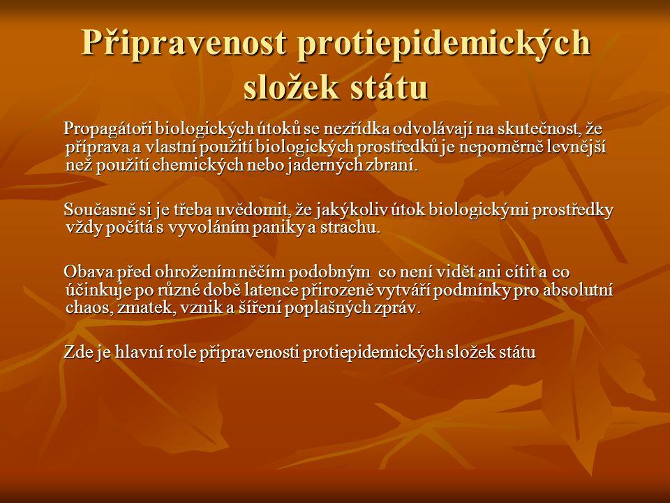 Připravenost protiepidemických složek státu Propagátoři biologických útoků se nezřídka odvolávají na skutečnost, že příprava a vlastní použití biologi
