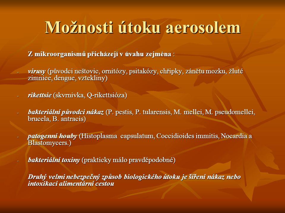 Možnosti útoku aerosolem Z mikroorganismů přicházejí v úvahu zejména : Z mikroorganismů přicházejí v úvahu zejména : - virusy (původci neštovic, ornit