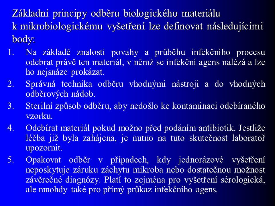 Základní principy odběru biologického materiálu k mikrobiologickému vyšetření lze definovat následujícími body: 1.Na základě znalosti povahy a průběhu infekčního procesu odebrat právě ten materiál, v němž se infekční agens nalézá a lze ho nejsnáze prokázat.
