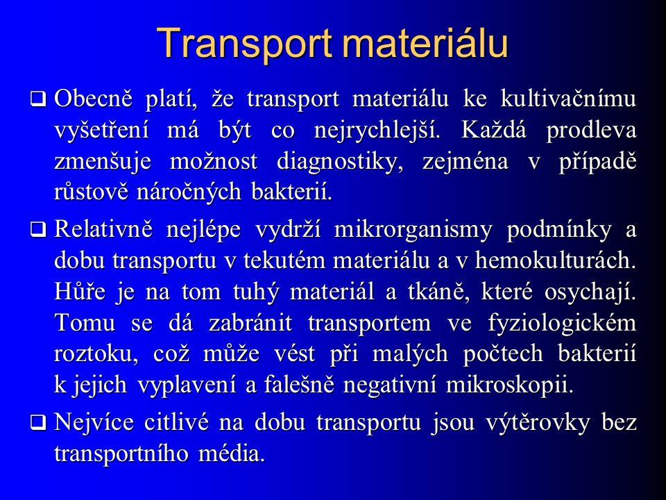 Transport materiálu  Obecně platí, že transport materiálu ke kultivačnímu vyšetření má být co nejrychlejší.