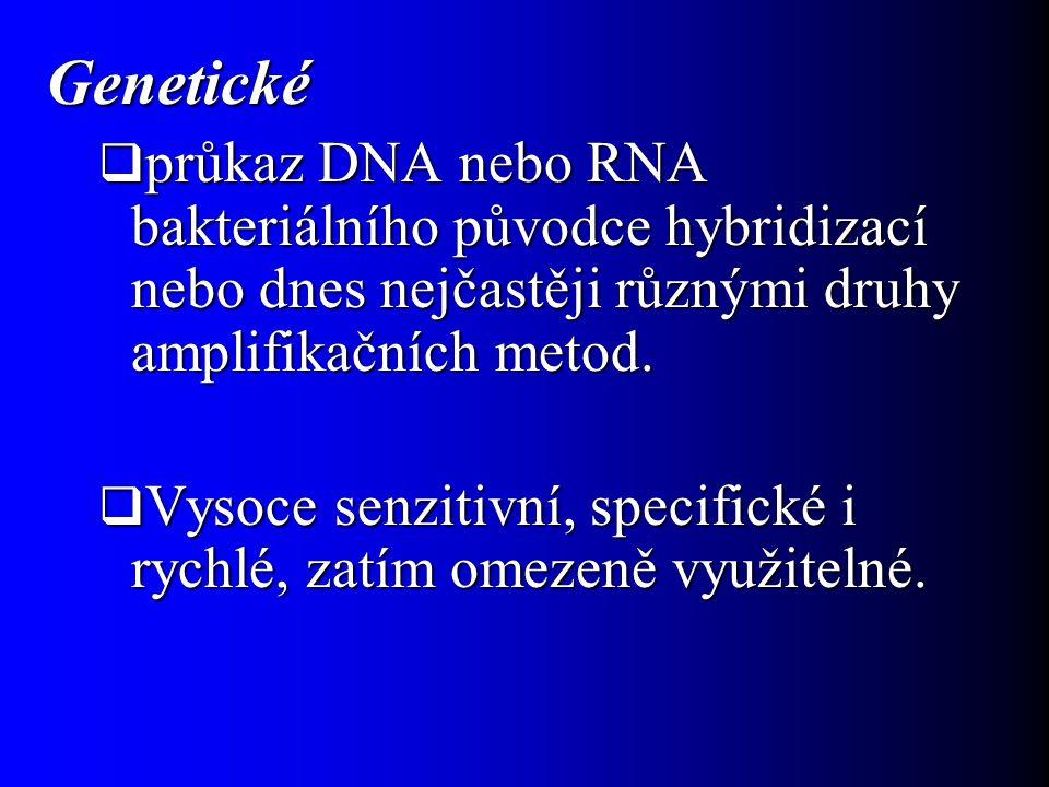 Chemické  průkaz chemických látek charakteristických pro detekovaný mikroorganismus.
