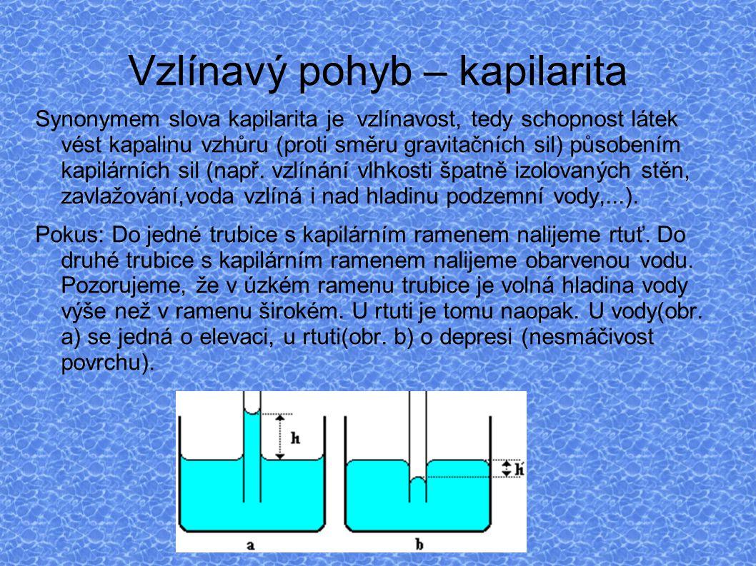 Vztah mezi pojmy : kapilarita, povrchové napětí, osmóza Kapilarita – vzlínání kapalin Povrchové napětí – působení sil na atomy a molekuly na povrchu kapaliny (např.