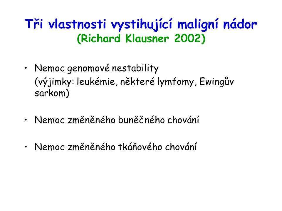 Tři vlastnosti vystihující maligní nádor (Richard Klausner 2002) Nemoc genomové nestability (výjimky: leukémie, některé lymfomy, Ewingův sarkom) Nemoc změněného buněčného chování Nemoc změněného tkáňového chování