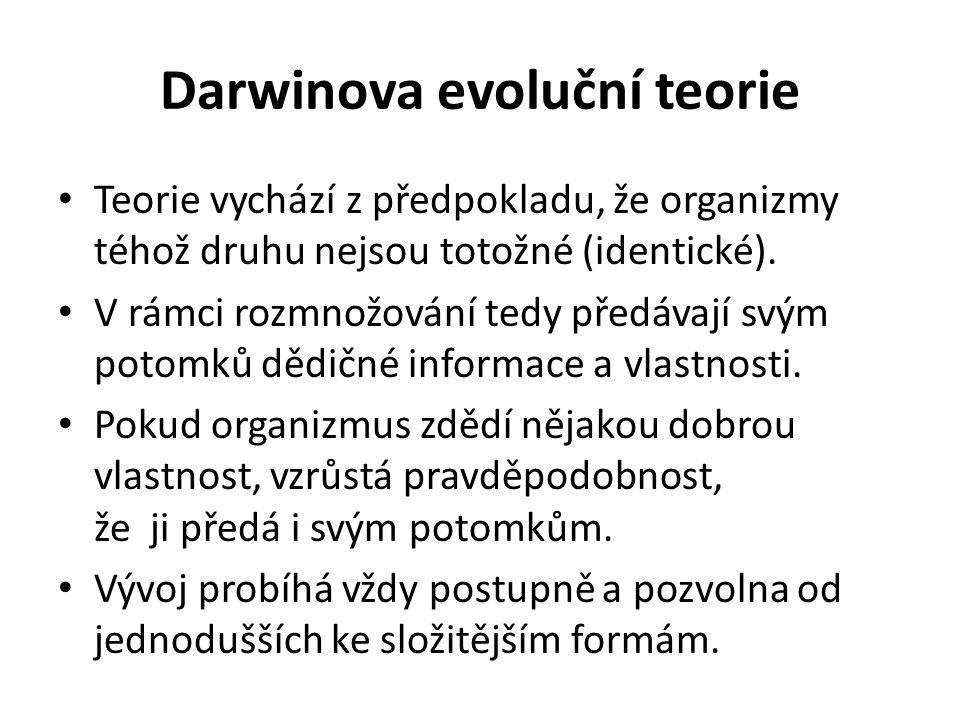 Darwinova evoluční teorie Teorie vychází z předpokladu, že organizmy téhož druhu nejsou totožné (identické).