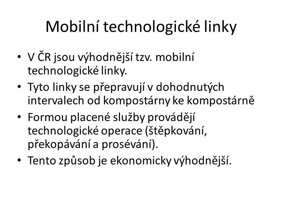 Mobilní technologické linky V ČR jsou výhodnější tzv. mobilní technologické linky. Tyto linky se přepravují v dohodnutých intervalech od kompostárny k